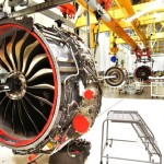 Technicians build LEAP engines for jetliners at a new, highly automated General Electric (GE) factory in Lafayette
